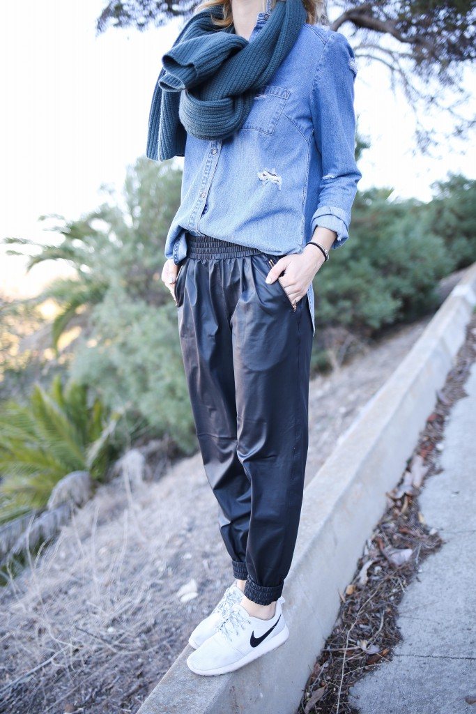 Faux Leather Track Pants, A Day, Paige Distressed Denim Top, Nike Roshe, Travel Fashion, Athleisure