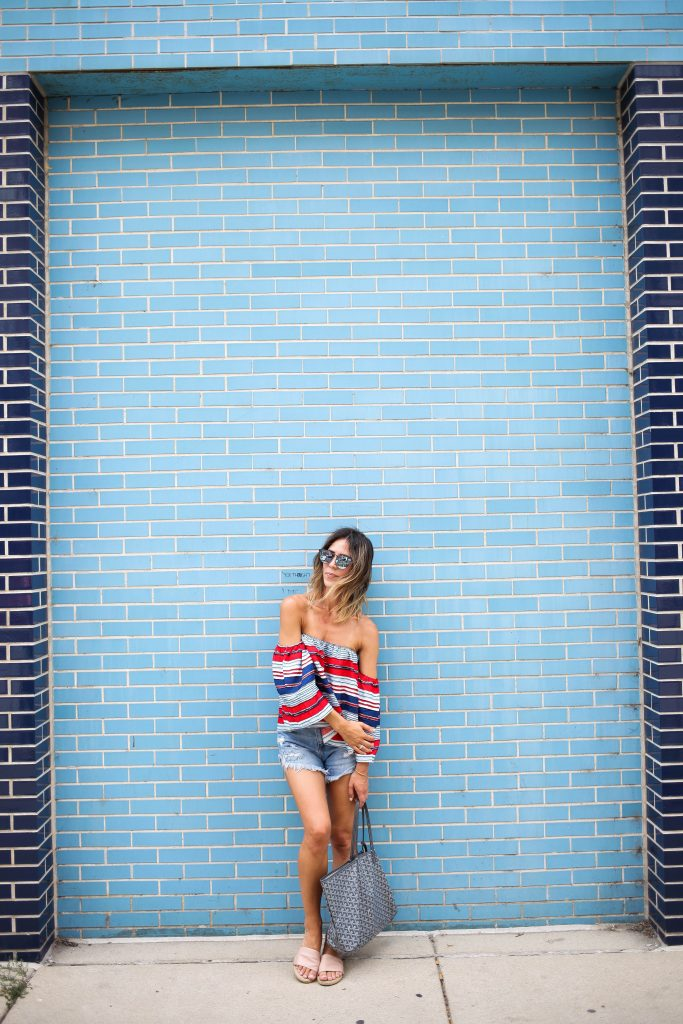 Multicolor Striped Off The Shoulder Blouse, Labor Day Weekend, Mirrored Sunglasses, Distressed Denim Short, Chicago Fashion Blogger
