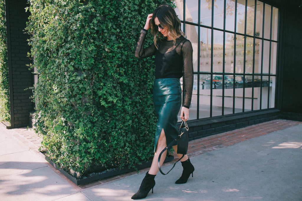 faux leather pencil skirt and holiday fashion
