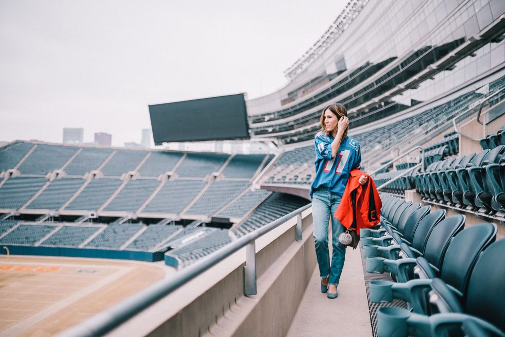 Blogger Mary Krosnjar wearing game day fashion and super bowl party tips