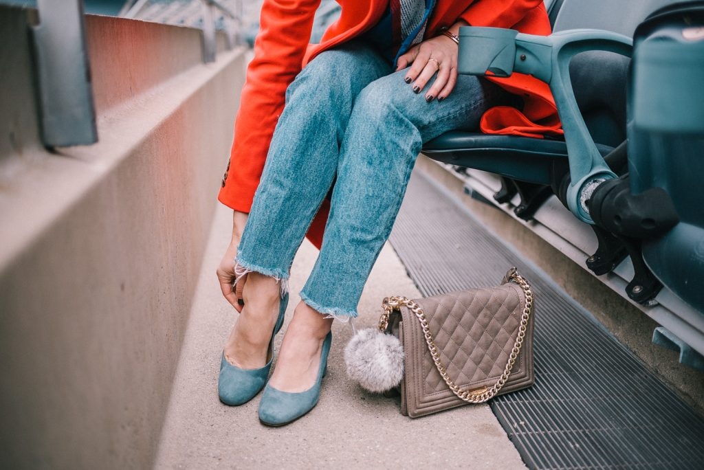 H&M High waisted denim and Naturalizer Blue Suede Pumps