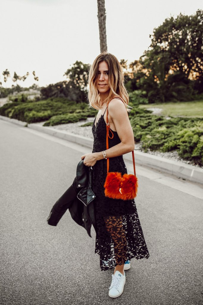 Blogger Mary Krosnjar wearing ASTR Lace Midi Dress and Stan Smith Sneakers
