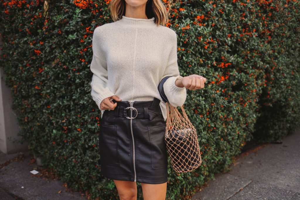 Blogger Mary Krosnjar wearing Nordstrom Balloon Sleeve Sweater and Topshop Faux Leather Skirt