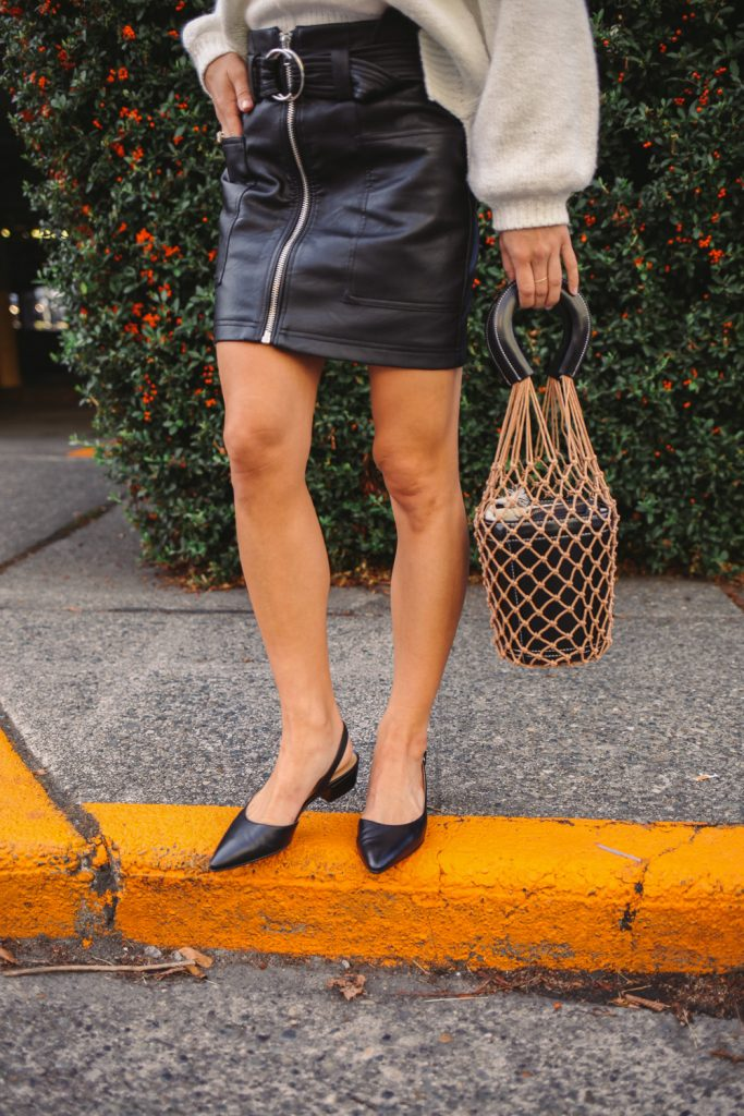 Blogger Mary Krosnjar wearing Topshop Faux Leather Mini Skirt and Amazon Net Bag