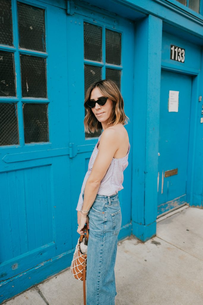 Blogger Mary Krosnjar Who What Wear One Shoulder Top and Zara Cat Eye Sunglasses