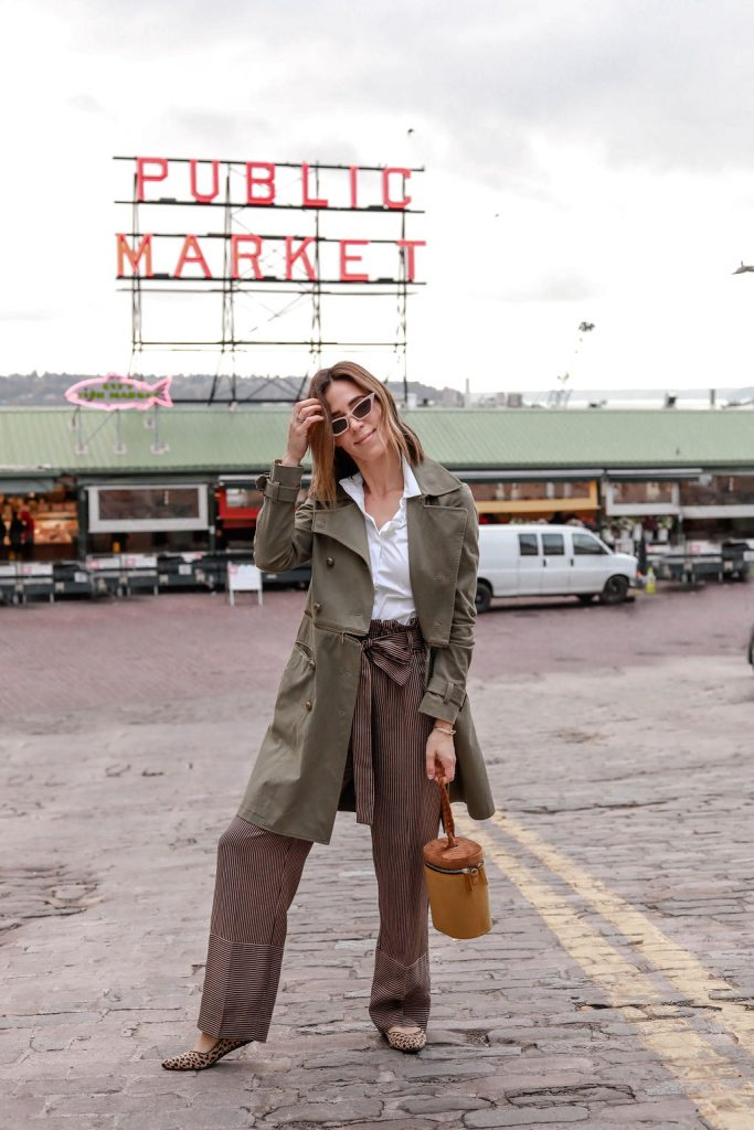 Blogger Mary Krosnjar wearing Point Sur paperbag pant in stripe and Rebecca Minkoff Khaki Trench