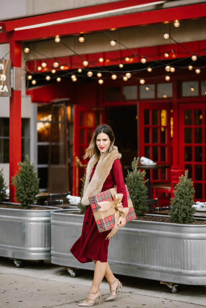 Blogger Mary Krosnjar wearing Red Wrap Dress and Faux Fur Stole