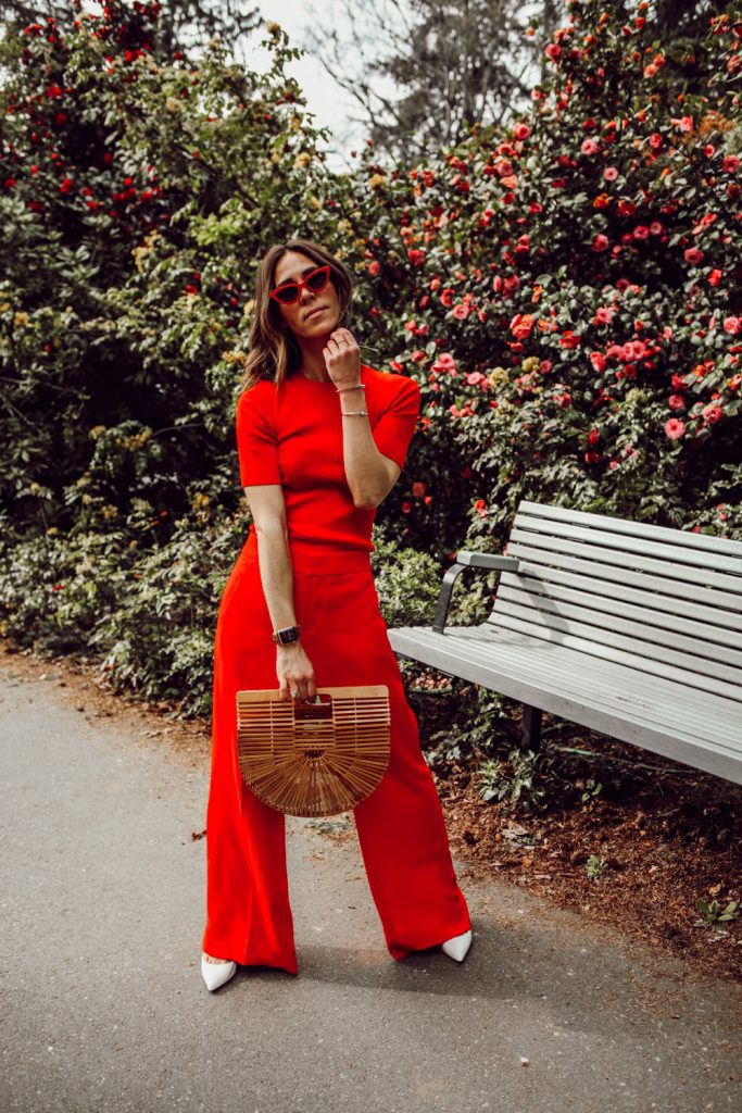 Seattle Fashion Blogger Sportsanista wearing Banana Republic Fitted Stretch-Cotton Crew-Neck Sweater and Anthropologie Poplin Wide-Leg Pants