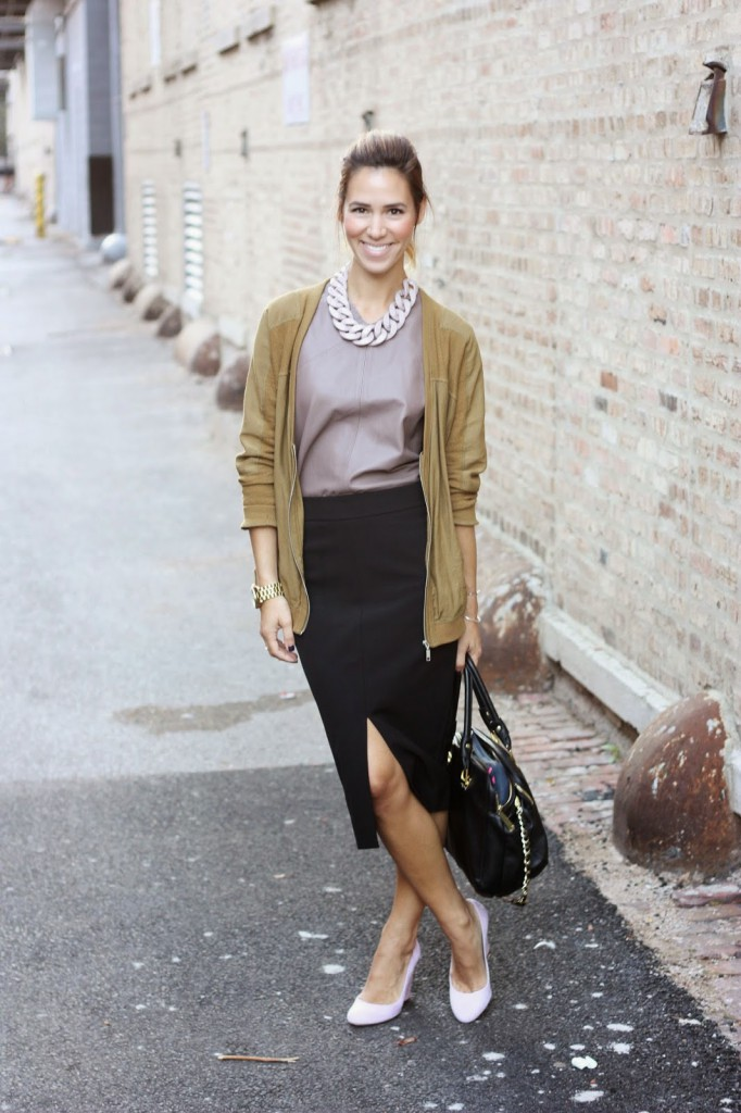 Kate Spade Saturday, Kate Spade Saturday Leather Shell, Leather Shell, Leather Shell Top, Ann Taylor Skirt, Jcrew Suede pumps, suede pumps, HM Link necklace