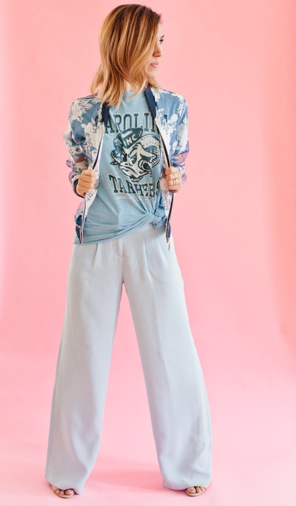 Forever 21 Wide leg pant, Organza Floral Bomber Jacket, North Carolina Tar Heels, UNC, College Game Day, Game Day Fashion, College Vault