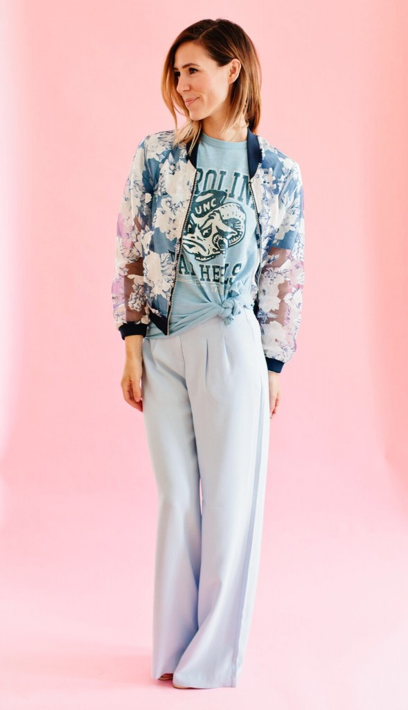 Memorial Day, Memorial Day weekend, Memorial Day outfits, Forever 21 Wide leg pant, Organza Floral Bomber Jacket, North Carolina Tar Heels, UNC, College Game Day, Game Day Fashion, College Vault