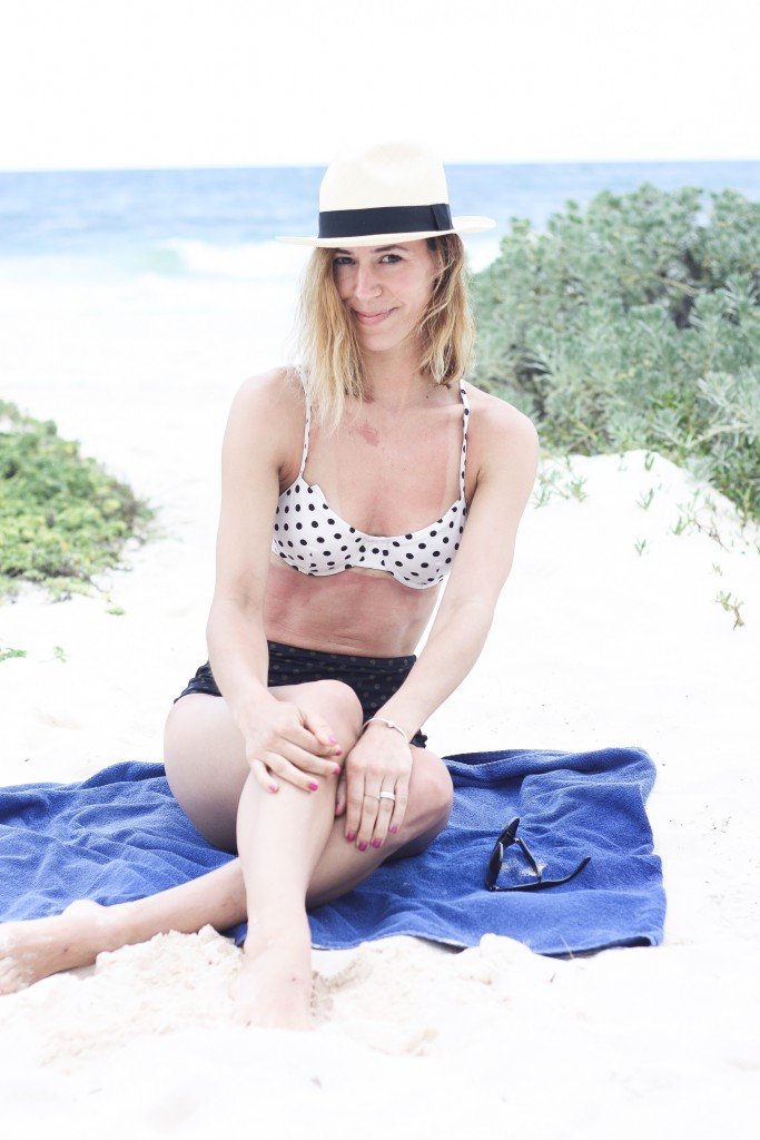 J.Crew swimwear, DOTTY UNDERWIRE BIKINI TOP, DOTTY PINUP BIKINI BRIEF, Panama Hat, Travel, Mexico, Styling Swimwear
