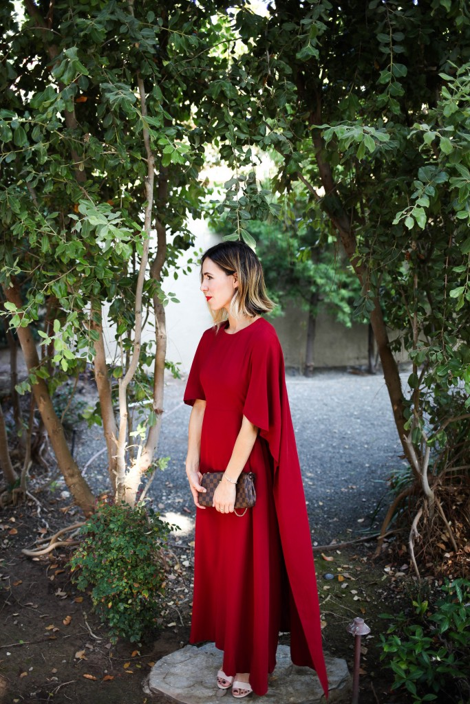 Red Cape Back Maxi Dress, Fall Wedding Guest Ideas, Wedding Guest, Fall Wedding Idea, Louisa Vuitton Satchel, Nude Sandals, Halloween decor ideas, Halloween costume ideas
