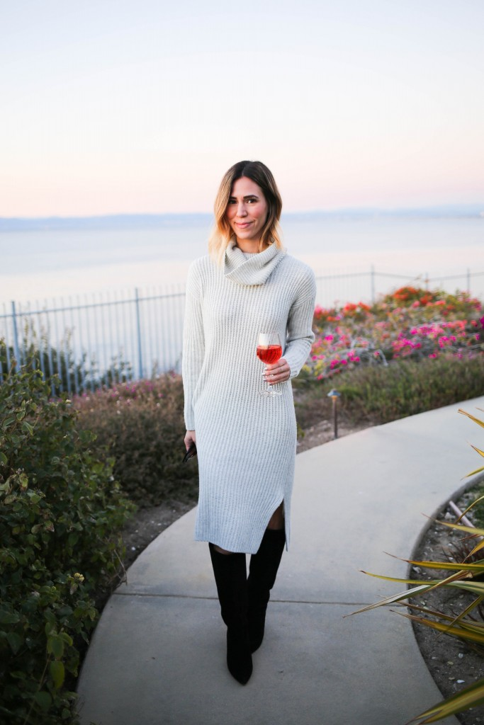 LOFT Turtleneck Sweater Dress, Kate Spade Nessa Too Slouch Boot, Quay Cat Eye Sunglasses, Palos Verdes, California Sunset