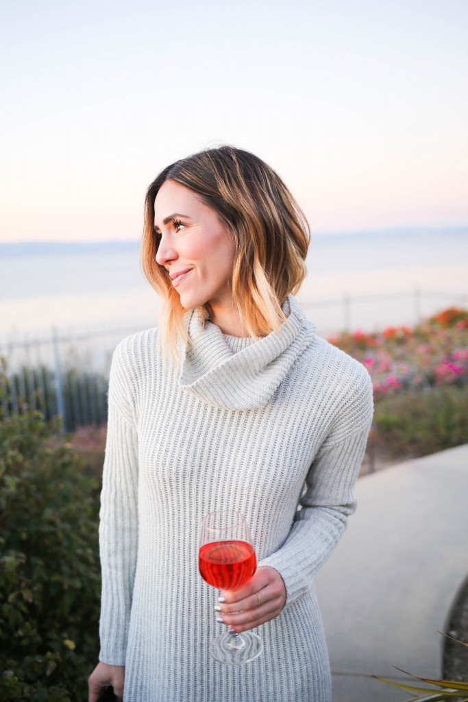 LOFT Turtleneck Sweater Dress, Kate Spade Nessa Too Slouch Boot, Quay Cat Eye Sunglasses, Palos Verdes, California Sunset, Saddleback Ranch Wine