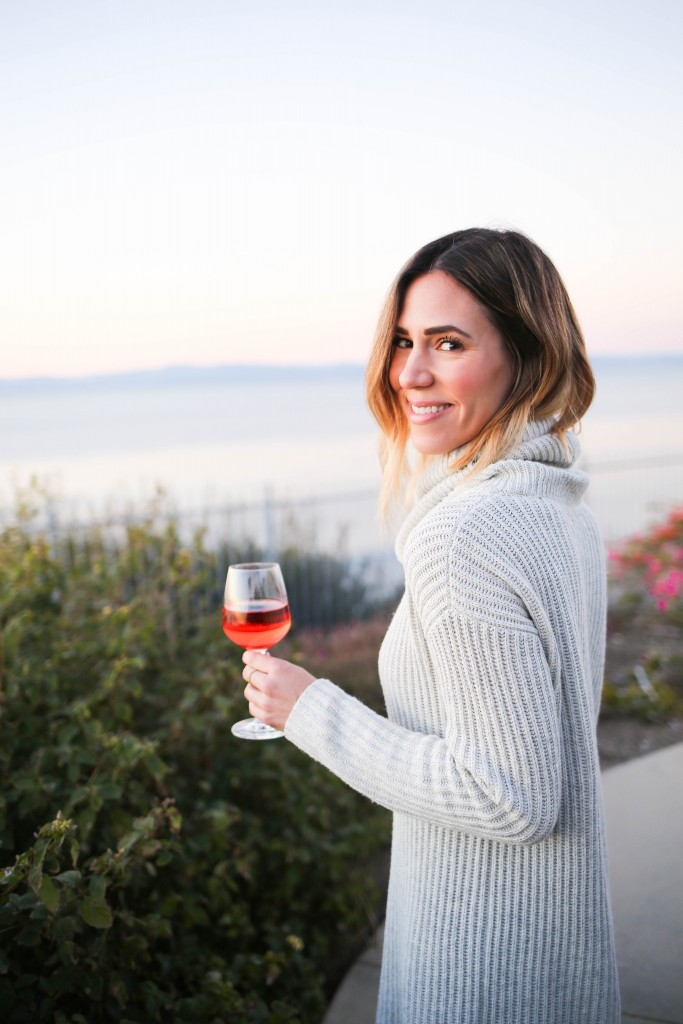 LOFT Turtleneck Sweater Dress, Kate Spade Nessa Too Slouch Boot, Quay Cat Eye Sunglasses, Palos Verdes, California Sunset, Saddleback Ranch Wine