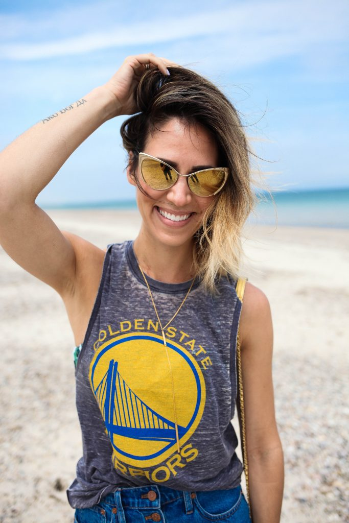 Golden State Warriors Muscle Tee, game day fashion, Sports and fashion blog, madewell midi denim skirt