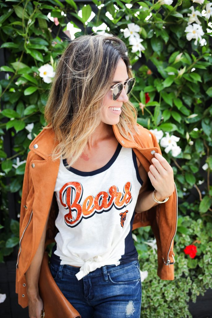 Chicago Bears Tank Top, Suede Moto Jacket, Raw Edge Denim, Platform Oxfords, Chicago Fashion Blogger, Game Day Fashion