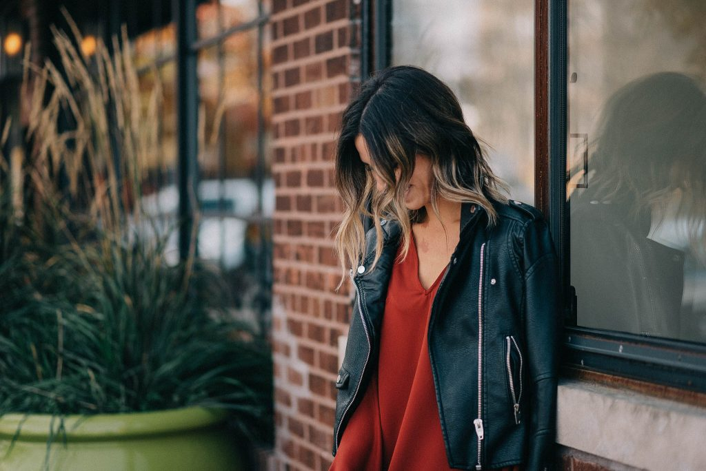Blank NYC Moto Jacket and Ruffle Long Sleeve Shift Dress