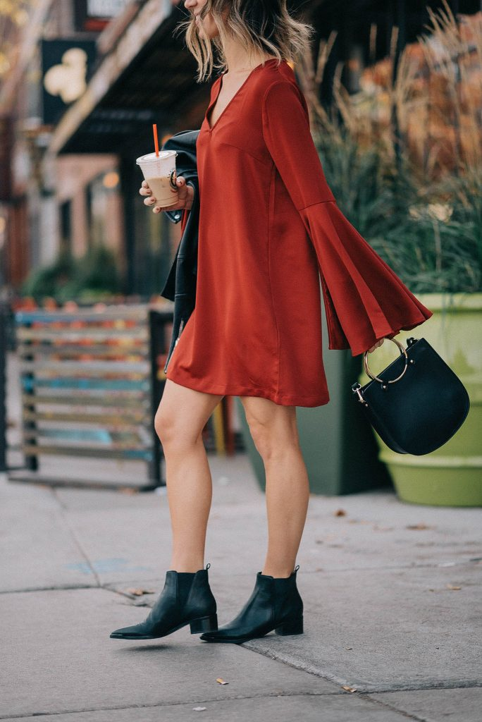 Ruffle Long Sleeve Shift Dress and Chicago Fashion Blogger