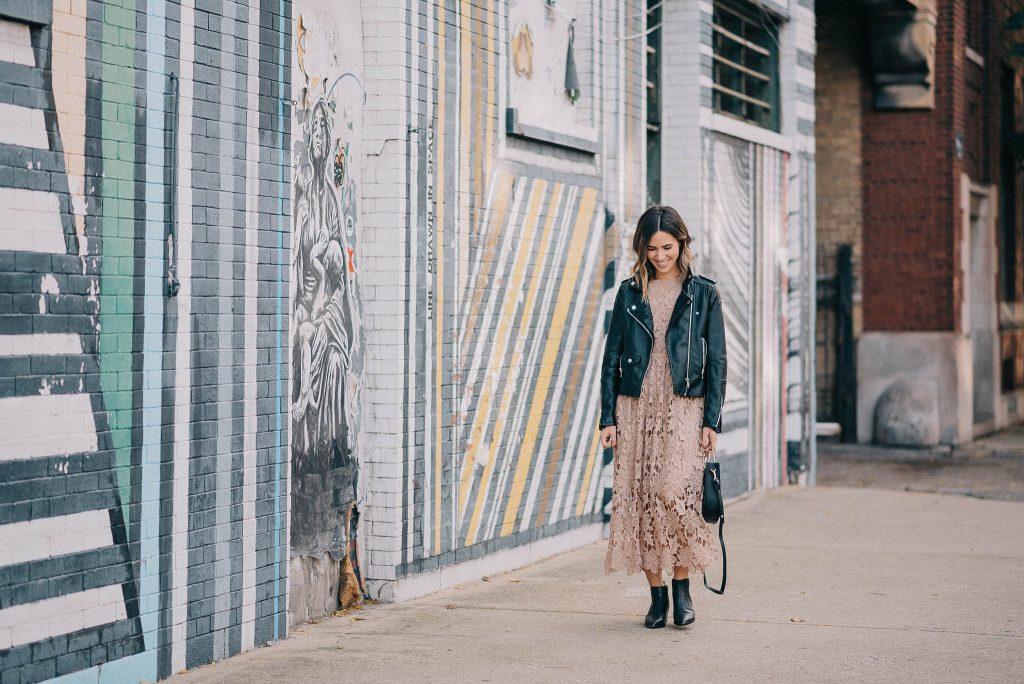 NA KD Crochet Strap Back Dress and Blank NYC Moto Jacket