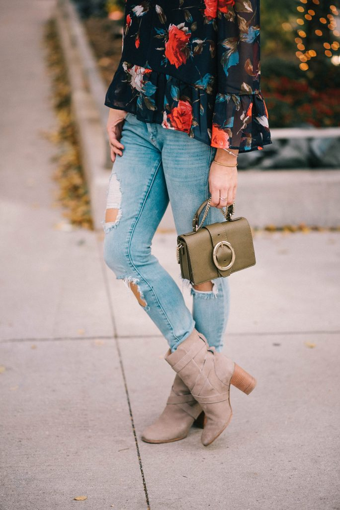 Multicolor Floral Off The Shoulder Blouse and Distressed Blank NYC Denim