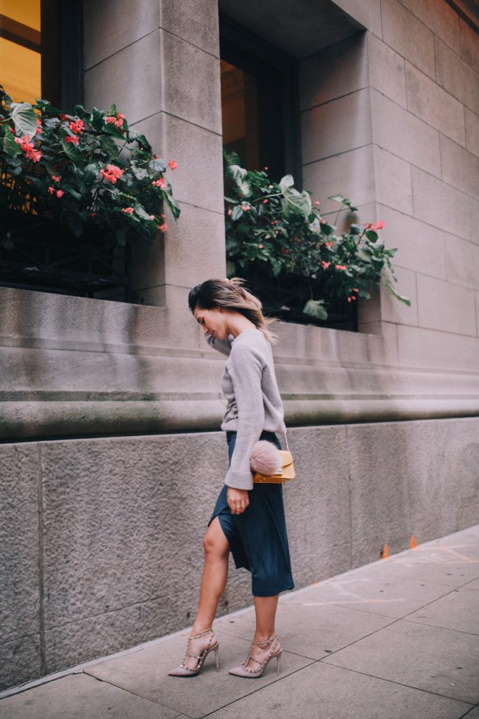 faux suede skirt and cashmere pullover sweater