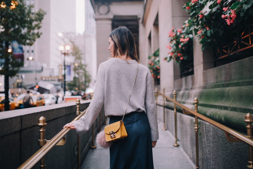 Furla Mini crossbody bag and cashmere pullover sweater