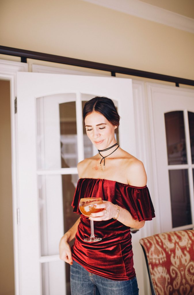 Thanksgiving Outfit ideas and Off-the-shoulder velvet top