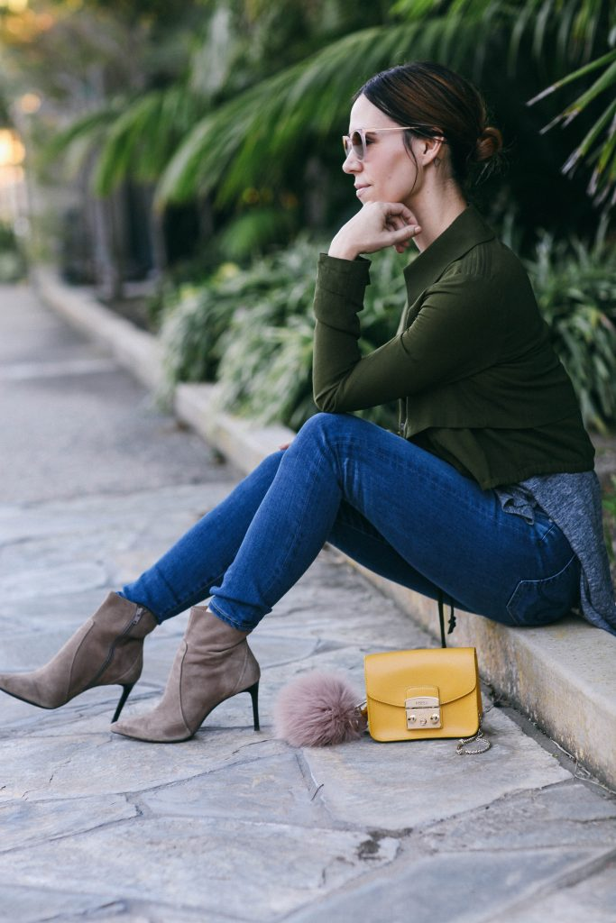 Cropped Ruffled Trench and AG Jean Skinny Jeans