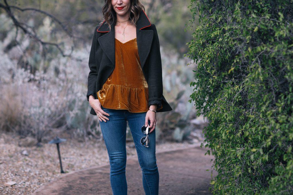 JCrew velvet cami and Chicago Fashion Blogger
