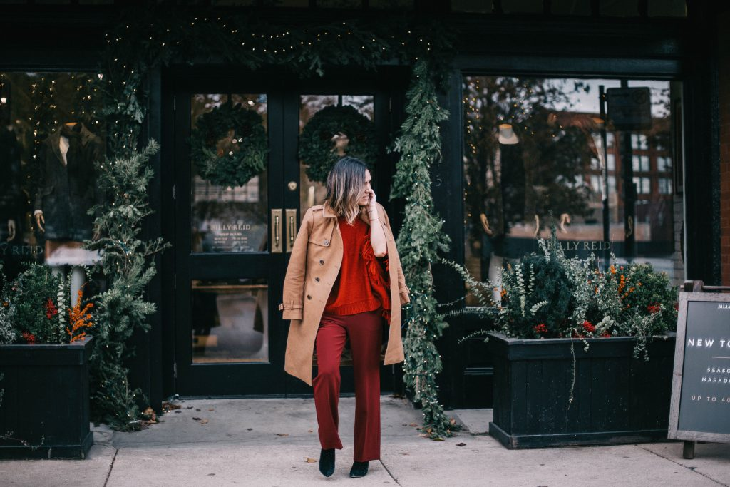 Wool trench coat and burgundy work pants