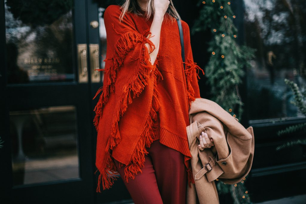 Fringe poncho and Wool trench coat