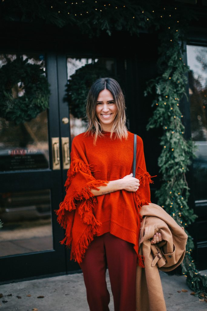 Worth Red Fringe Poncho and Chicago Fashion Blogger