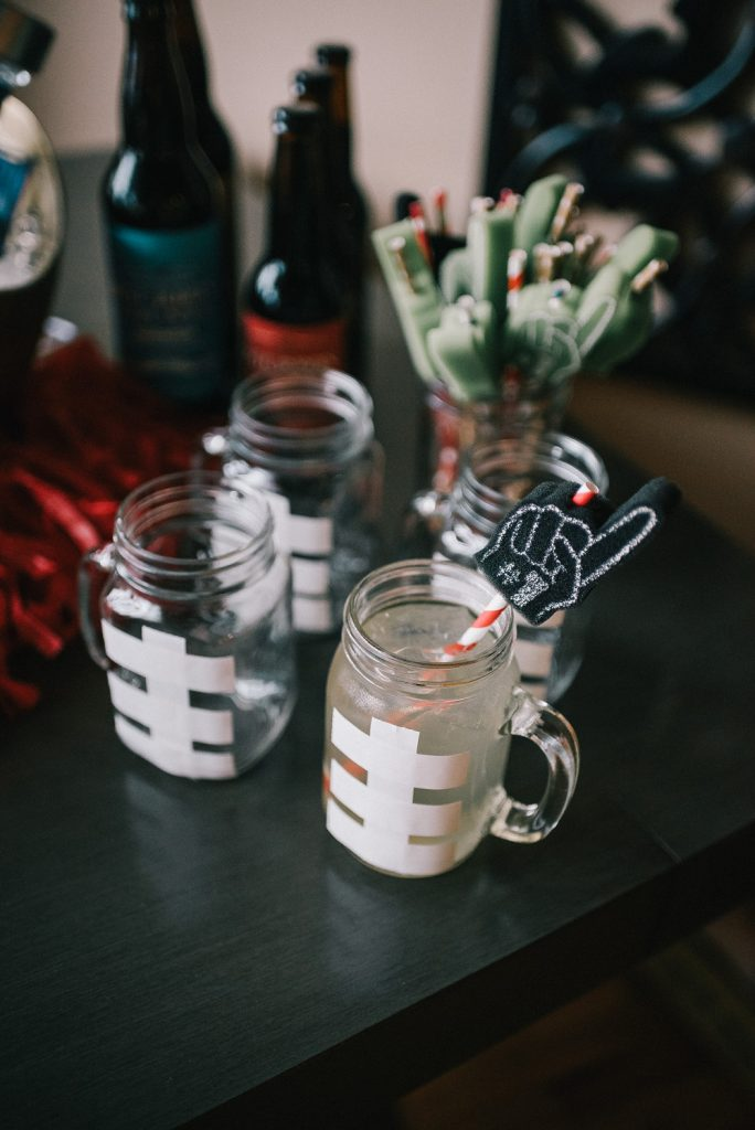 DIY ideas for Super Bowl Party and Mason Jar glasses