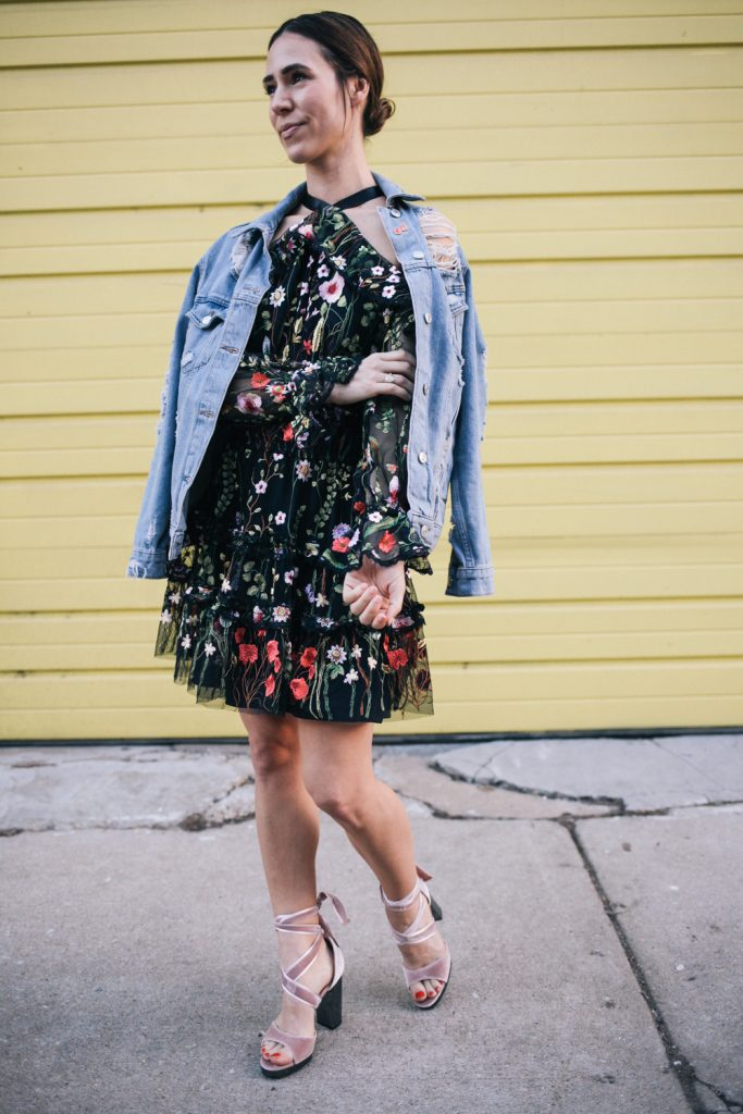 Blogger Mary Krosnjar wearing Rent the Runway Black Floral Dress and Valentino Velvet Sandals