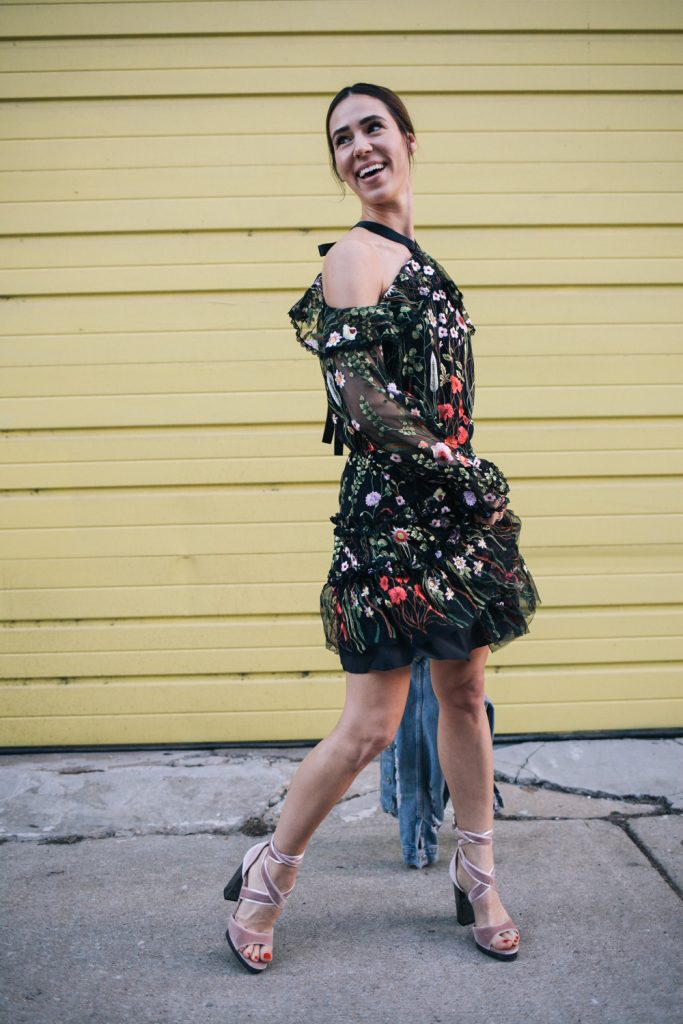 Blogger Mary Krosnjar wearing Alexis Black Floral Dress and Valentino velvet sandals