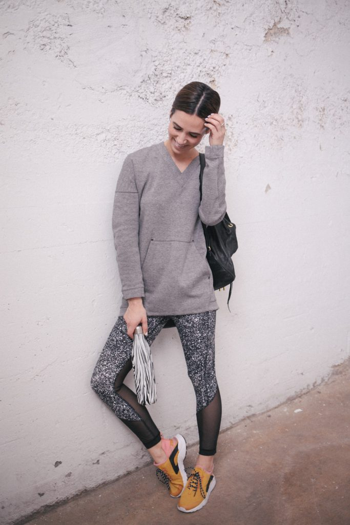 Blogger Mary Krosnjar wearing Grey Nike Pullover and Lululemon pants