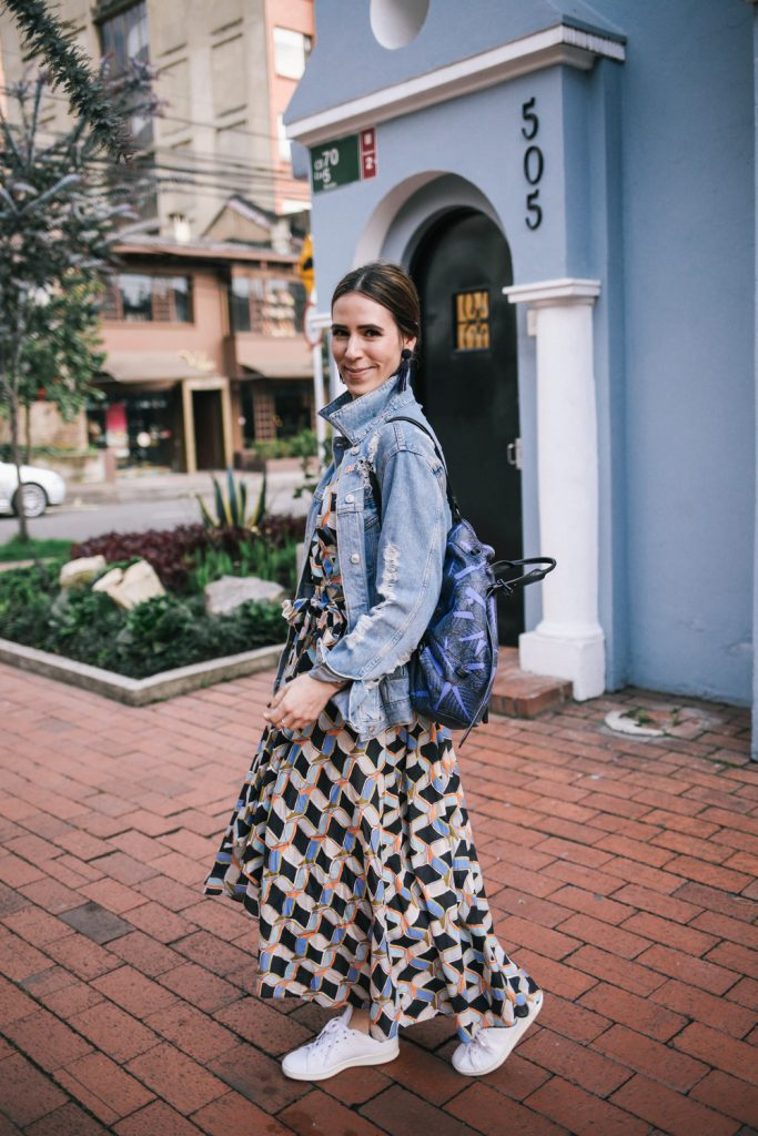 Blogger Mary Krosnjar wearing Milly Printed Valerie Dress and Opening Ceremony Palm Print Backpack