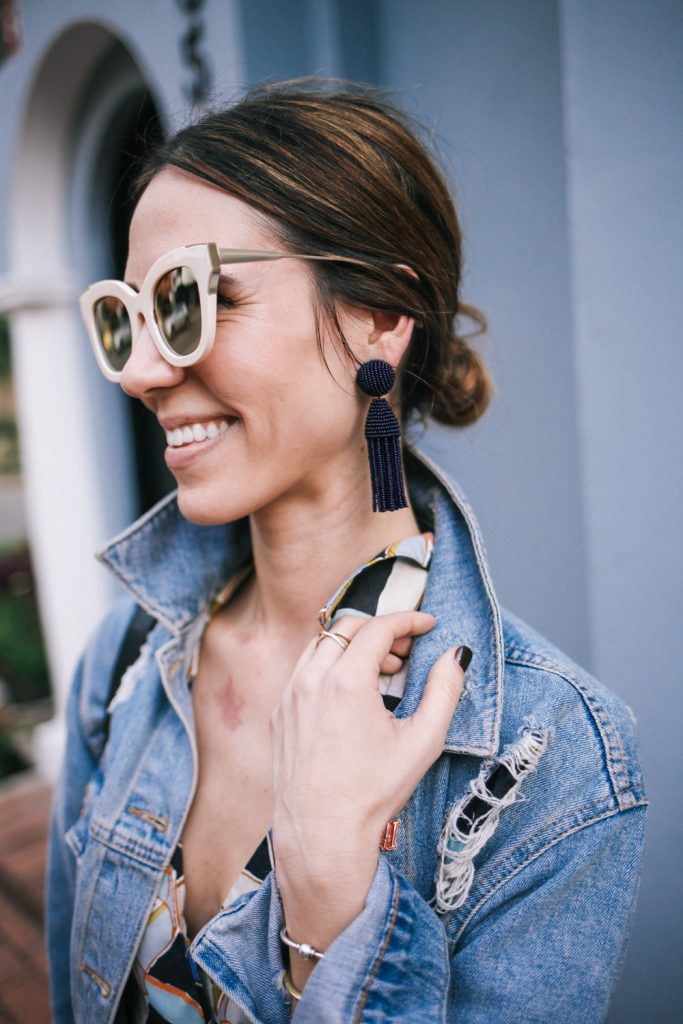 Blogger Mary Krosnjar wearing B.P. mirrored sunglasses and Oscar de la Renta earrings