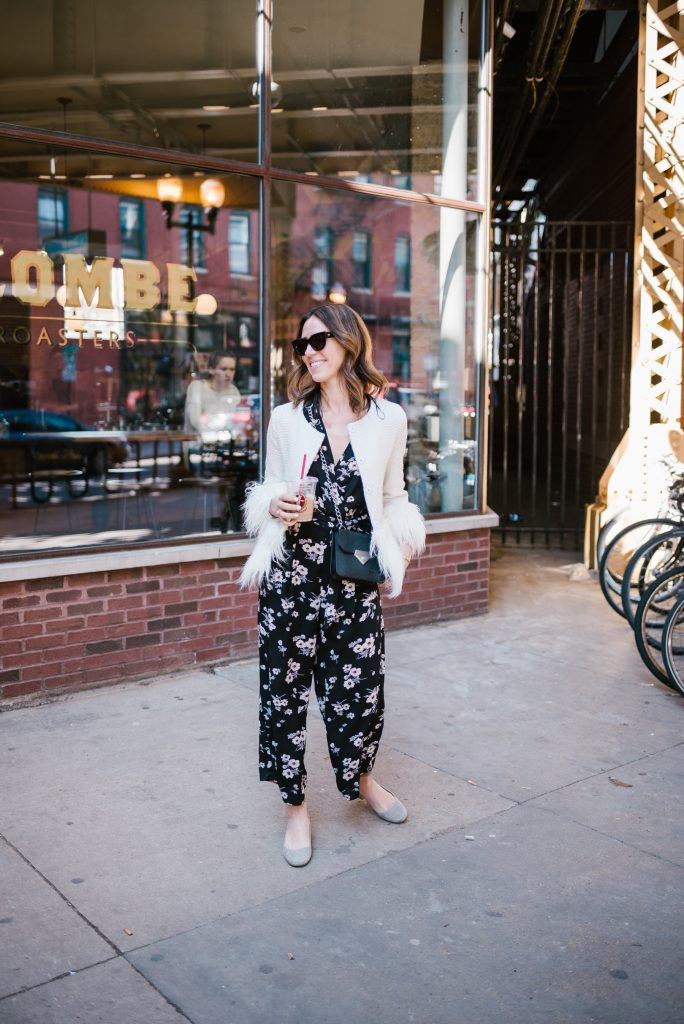 Blogger Mary Krosnjar wearing Floral Jumpsuit for Spring and La Colombe Wicker Park