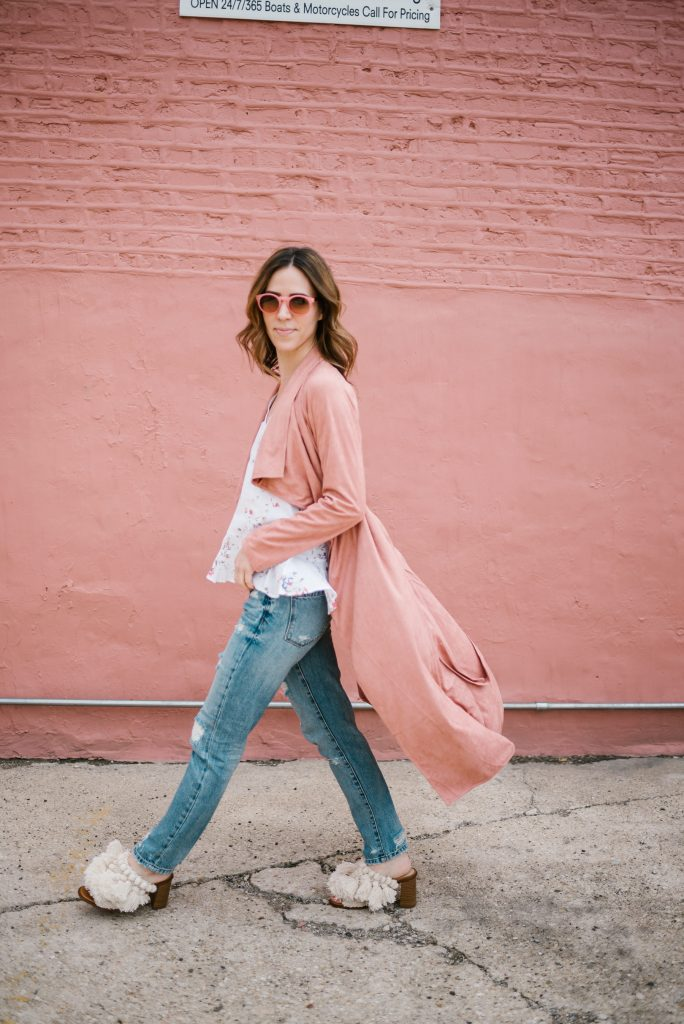 Blush Pink Duster Coat and Fringe Mules from Zara