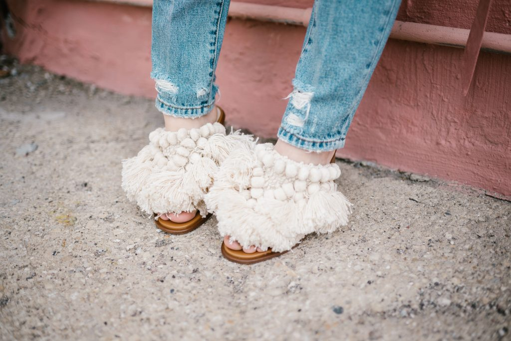 Fringe Mules from Zara and Blank NYC distressed denim