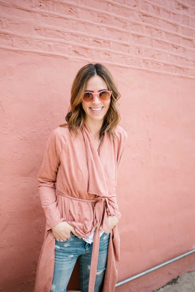Pink Sunglasses from Loft and Blush Pink Duster Coat