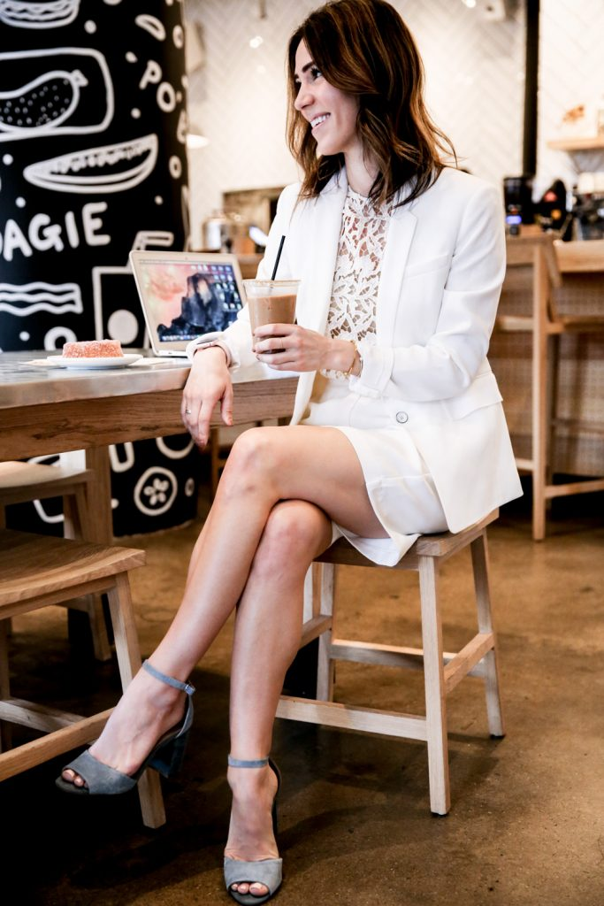 Blogger Mary Krosnjar wearing Rag and Bone white blazer and Steve Madden blue suede sandals