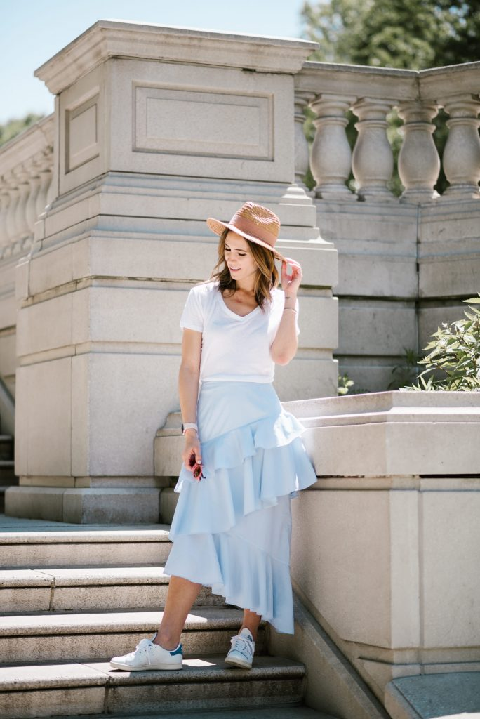 Chelsea Ruffle Midi Skirt and Stan Smith Sneakers