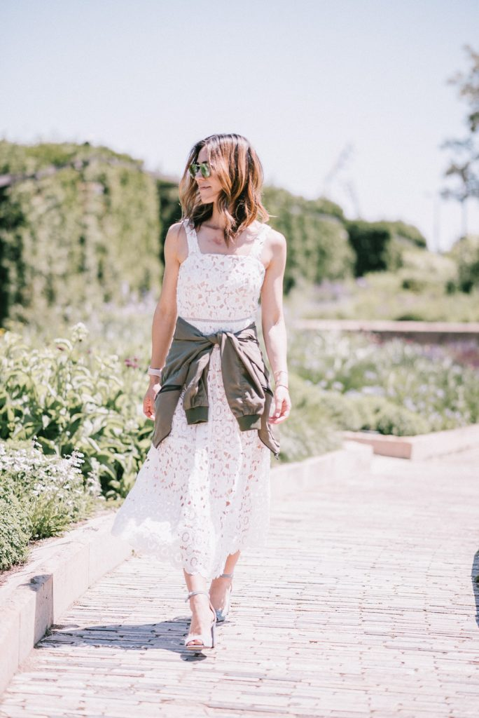 Chicago Fashion Blogger Mary Krosnjar and White Lace Midi Dress