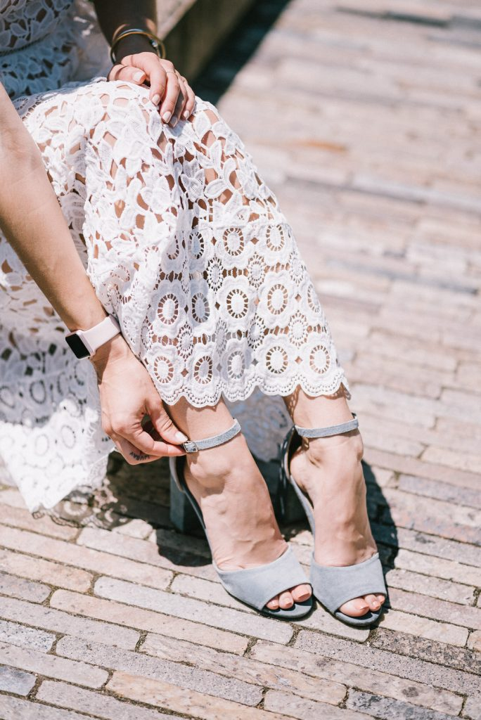 Steve Madden Blue Suede Heels and White Lace Midi Dress