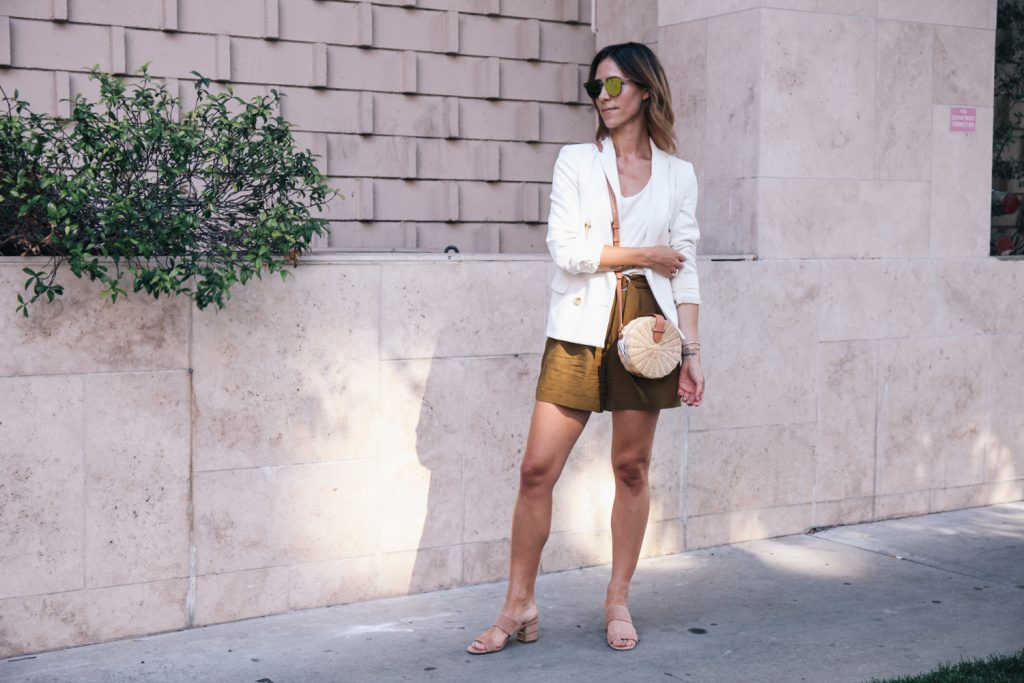Mary Krosnjar wearing White Blazer and Highwaisted shorts