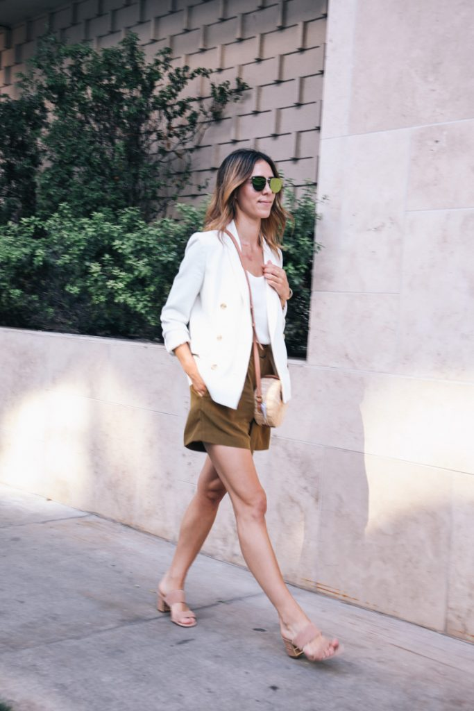 Blogger Mary Krosnjar wearing J.Crew White Blazer, high waisted shorts and steve madden nude suede sandals